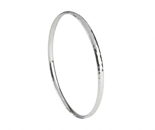 Solid Heavyweight Hammered Sterling Silver Round Bangle SCOB1H